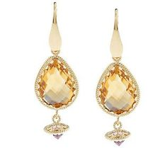 Christian Santicioli 12 cttw Citrine Earrings, 18K yellow gold