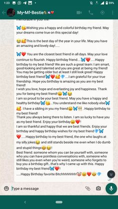 Happy Birthday Best Friend Quotes, Happy Birthday Quotes For Friends, Happy Birthday Me, Message For Best Friend, Best Friend Messages, Happy Birthday Paragraph, Cute Texts For Him, Birthday Captions, Real Friendship Quotes