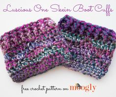The Luscious One Skein Cowl pattern inspired a hat, fingerless mitts… and now, a matching pair of boot toppers! Introducing the Luscious One Skein Boot Cuffs! You can make these with just one skein of Lion Brand Unique, or the bulky yarn of your choice. Crochet Boots, Crochet Gloves, Crochet Slippers, Love Crochet, Knit Crochet, Crochet Headbands, Afghan Crochet, Scrap Crochet, Crochet Style