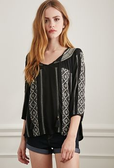 Embroidered Gauze Peasant Top | Forever 21