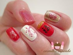 Chinese New Year Nail Art Flowers Nail Designs Pinterest Nail