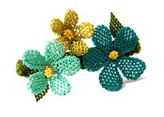 Blue lace flowers French hair clip teal yellow by LandofDante, $44.00