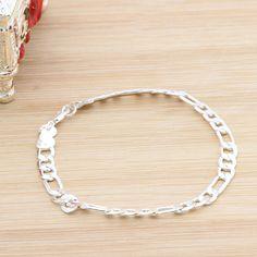 1/10 Pcs 925 Sterling Silver Figaro Bracelet Jewelry Charming Bangle Wristband