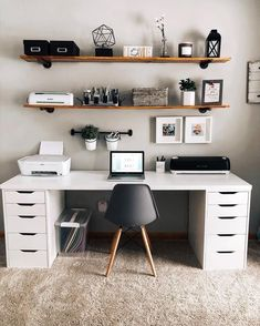 homedecor office Modern Home Office Design Ideas. Therefore, the demand for home offices.Whether you are intending on adding a home office or renovating an old area right into one, below are some brilliant home office design ideas to aid you get started. Study Room Decor, Cute Room Decor, Room Ideas Bedroom, Bedroom Decor, Home Study Rooms, Ikea Bedroom, Entryway Decor, Home Office Setup, Home Office Space