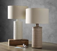 Jamie Young Emma Ceramic Column Table Lamp, Taupe - All For House İdeas Table Lamps For Bedroom, White Table Lamp, White Lamps, Lamp Table, Wood Table, Desk Lamp, Pottery Barn Table, Modern Lamp Shades, Brass Lamp