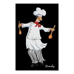 Salad Tossing Chef print/ poster