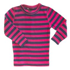 Linzi Merino Pink and Navy Stripe Thermal Top