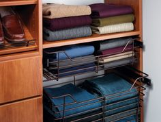 Slide-out and removable #laundry #baskets in your #closet make it simple to sort out dirty clothing and bring it right to the #laundryroom!