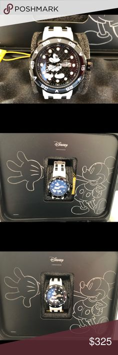 Disney Limited Edition Invicta Mickey Watch. Ladies and gentlemen can wear this timepiece, it is 50mm. It also includes a 3 slot commemorative watch case. This timepiece is brand new and never worn. Perfect for the Disney and Mickey lover. It is #465 out of 3,000. Invicta Accessories Watches