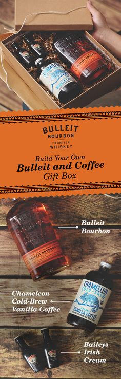 """Give your friend the gift of Bulleit Bourbon and the means to mix it. Whether for a birthday, holiday, graduation, or anniversary—this 'Build Your Own: Bulleit and Coffee Gift Box"""" is perfect for any occasion. With Chameleon Cold-Brew Organic Vanilla Coffee, Bulleit Bourbon, and Baileys Original Irish Cream, this is a delicious and creamy drink for the whiskey lover in your life. Head over to the Chameleon Coffee and Baileys websites for purchase."""