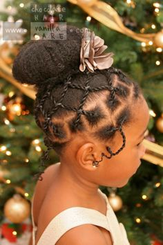 Adorable Child's Hairstyle - http://www.blackhairinformation.com/community/hairstyle-gallery/kids-hairstyles/adorable-childs-hairstyle/ #kidshair #bun #updo