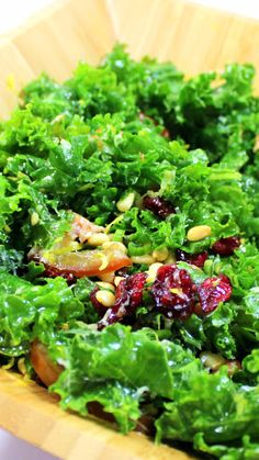 Raw Kale, sweet and TENDER, yes I said TENDER.  There is a trick, and this is now a new favorite salad for me.  Tender (yes, tender) kale leaves with a simple oil and Lemon juice dressing, dried cranberries and a few extras makes this SPECIAL beyond words.  Did I say TENDER RAW KALE!!!