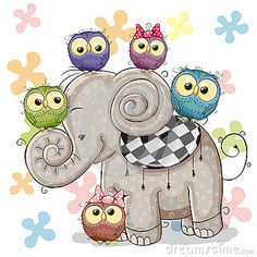 Elephant And Owls Stock Vector - Image: 66946534