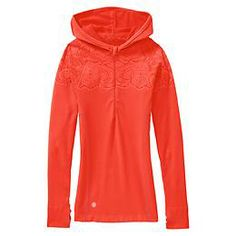 Loving the Orange for this fall running season!  Twist Half Zip Hoodie - The ultimate next-to-skin performance fabric with new, Unstinkable Technology is ready to run.