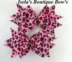 pink Zebra Layered Boutique Hair Bow
