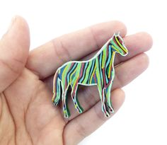 Cowgirl Jewelry, Horse Lover Gift, Horse Art, Painted Horse Brooch, Christmas Gift, Equestrian Jewelry, Pony Art, Equine Art, Horse Gifts #Original #Larryware #Art #Brooch #Jewelry #Handmade
