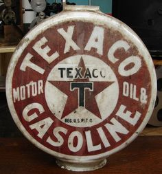 EARLY One piece TEXACO Gas Pump Globe with vented top 1910s vintage pre visible sold for $16,655