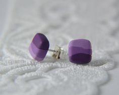 Purple Stud Earrings, Post earrings, Jewellery -  Ombre Earrings, Polymer Clay Earrings by MintRoseJewelry on Etsy, $11.86