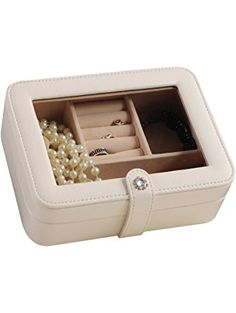 Mele & Co. Rio Faux Leather Glass Top Jewelry Box, 7 3/8-Inch by 5 7/8-Inch by 2 1/2-Inch, Ivory ❤ Mele & Co