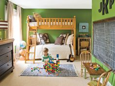For our boys.  LOVE the paint; our inherited bunk beds and furniture are the same wood color.  Maybe have a wall papered with maps of the world?  Or drawer fronts of the somewhat ugly dresser/chest?