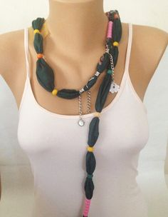 Forest Green Scarf Necklace with Fuchsia Pink Beads    by MaxiJoy, $12.00