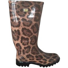 Pre-owned Dolce&gabbana 100% Dolce & Gabbana Brown Leopard Rubber... ($254) ❤ liked on Polyvore featuring shoes, wellington rubber boots, leopard print rain boots, rubber rain boots, dolce&gabbana and leopard print shoes
