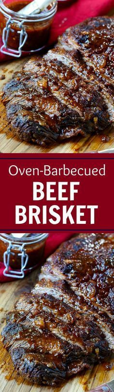 Brisket Oven-Barbecued Beef Brisket- so smoky and flavorful, no one will ever believe it was cooked in the oven.Oven-Barbecued Beef Brisket- so smoky and flavorful, no one will ever believe it was cooked in the oven. Beef Dishes, Food Dishes, Main Dishes, Slow Cooking, Cooking Recipes, Pork Recipes, Cake Recipes, Recipies, Barbecue Recipes