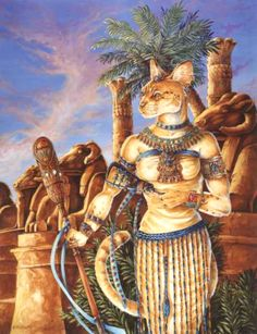 'The Sacred Way' by Hbruton. Baast, lingers in the Avenue of Sphinxs at Karnak. Like the other Gods series paintings everything in the painting is based on real objects. Her staff though is not really a staff but is based on an old makeup palette, much blown up.