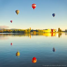 Hot Air Balloons over Lake Burley Griffin, Canberra Australia Places To Travel, Places To See, Australia Pictures, Australian Capital Territory, Have A Nice Trip, Air Balloon Rides, Australia Travel, Wonderful Places, Travel Pictures