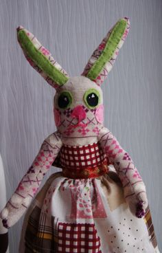 Retro/Vintage-style Sock Bunny with Patchwork Print Cotton Dress - One of a Kind