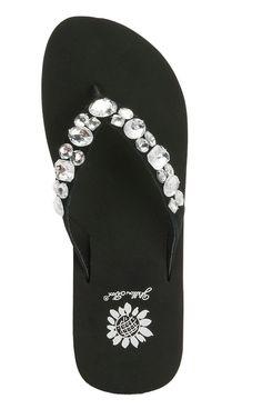 Yellow Box Ladies Belicia Black w/Clear Rhinestone Bling Flip Flop Sandals