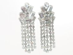 Vintage Long Clear Rhinestone Dangling Clip by delightfullyvintage