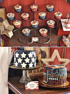 use a tiered candleholder as cupcake stand - the kind you'd use in a fireplace