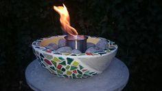 Feuerschale Mosaik aus Beton,  mit Edelstahlbrenndose für Bioethanol. Facebook.com/madebyme.l.