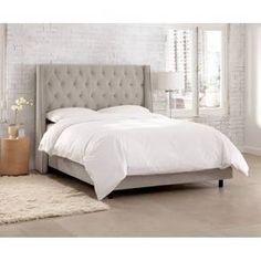 Skyline Custom Upholstered Nail Button Tufted Wingback Bed in velvet light grey