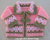 Crochet Pattern 045 - Blossom Baby Jacket - 3, 6, 12, 24 months (will make to order)