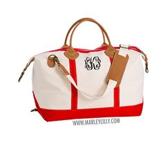 Monogrammed Red Sunshine Satchel Duffel Bag