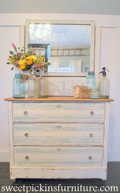 DIY-Thrift to Beautiful Distressed Blue/White Dresser Transformation !! (Full Tutorial). Beautiful bottle display