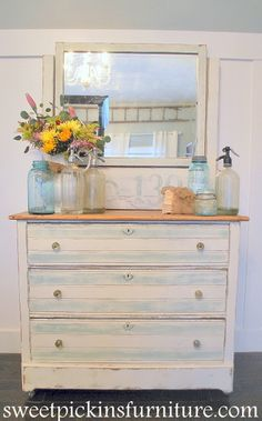 DIY-Thrift to Beautiful Distressed Blue/White Dresser Transformation !! (Full Tutorial). Beautiful bottle display