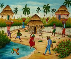 All in a Day - Paintings by Haitian Artist H. RouanezAll in a Day - Paintings by Haitian Artist H. Afrique Art, African Art Paintings, Canvas Painting Tutorials, Haitian Art, Art Basics, Caribbean Art, Art Africain, Tropical Art, Afro Art