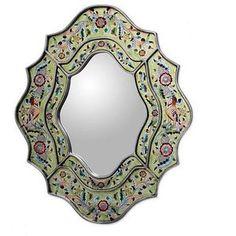 NOVICA Hand Made Reverse Painted Glass Bird Mirror