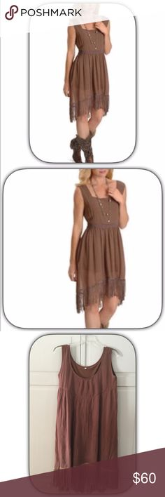 🌺HP NWT Cute Brown Fringed Rancho Dress 🎊🌺HP 2/25/17! Weekend Wanderlust Party! New Listing! This is a super cute dress! I have this and I wear a fat. Let around the waist and sometimes I let is hang loose with cute boots! It is nicely lined to! It flows beautifully and the Fringe is a special addition to it! Belt not included! Chosen by @nkhob please check out her amazing closet! 🎊🌺🎊🌺🎊🌺🎊 Boutique Dresses Midi