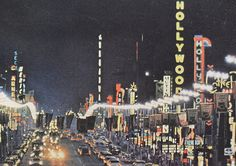 1960s HOLLYWOOD Los Angeles CALIFORNIA NEON LIGHTS Theatres Street by Christian Montone, via Flickr