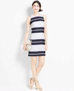 Petite Ribbon Stripe Shift Dress