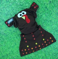 Little Beasties one size cloth pocket diaper with adjustable elastic & leg gussets; snaps; turkey face embroidery - pinned by pin4etsy.com