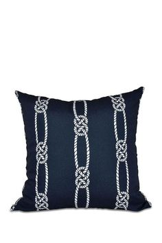 Navy and White Knotted Rope Pillow