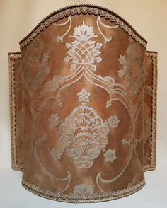 Venetian Lamp Shade in Fortuny Fabric Warm French Brown & Gold Veronese Pattern Half Lampshade - Handmade in Italy by OggettiVeneziani on Etsy
