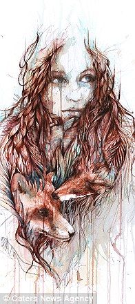 Detail from 'Comfort' by Carne Griffiths - made from tea stains