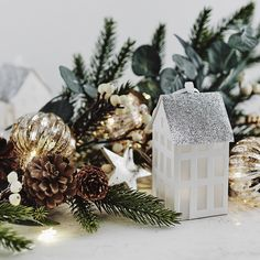 Paper Town Houses - Set Of 2 | The White Company. Shopping from the US? -> http://us.thewhitecompany.com/Holidays/Christmas-Tree-Decorations/Paper-Town-Houses---Set-Of-2/p/TDHTH?swatch=White%2FSilver