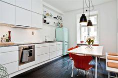 White Kitchen + Light + Wood + Smeg + Furniture